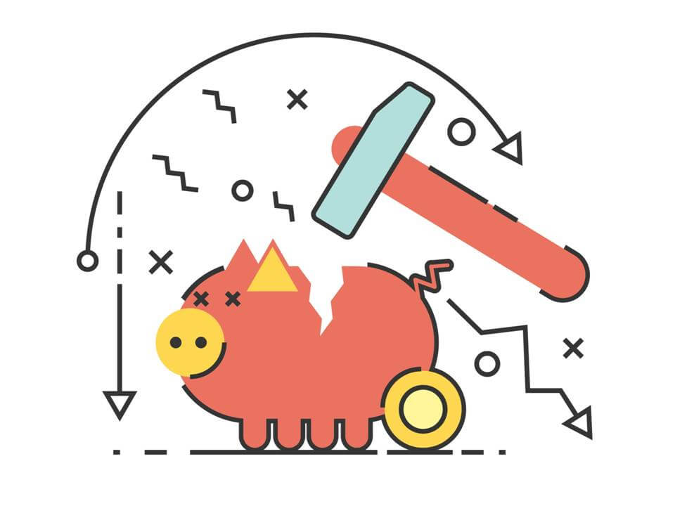 clipart of pig bank being cracked by a hammer