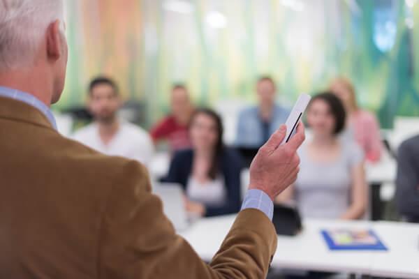 lecturer teaching retirement class